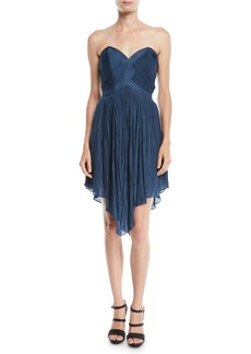 Halston Heritage Strapless Pleated Mini Dress w/ Asymmetric Hem