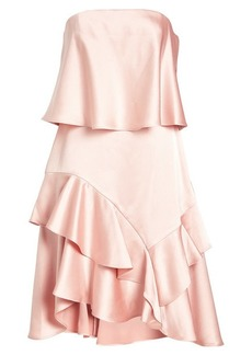 Halston Heritage Strapless Satin Dress with Ruffles