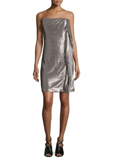 Halston Heritage Strapless Sequin Dress W/Side Ruffle