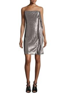 Strapless Sequin Dress W/Side Ruffle