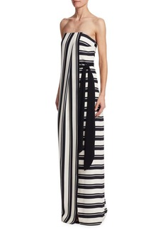 Halston Heritage Strapless Stripe Dress