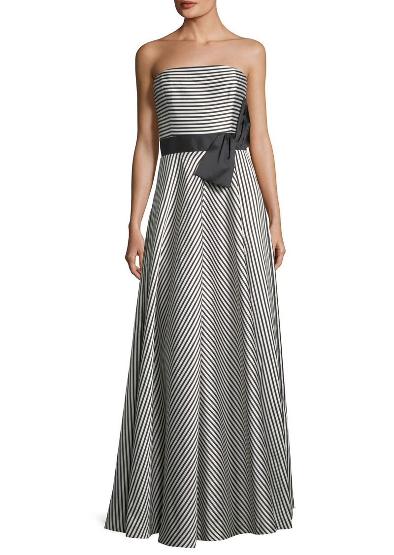 Halston Heritage Strapless Striped A-Line Gown