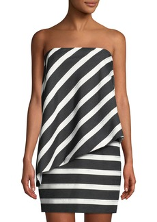 Halston Heritage Strapless Tiered Striped Dress