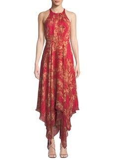 Halston Heritage Strappy Floral & Metallic Stripe Gown