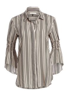 Halston Heritage Striped Smocked Bell Sleeve Blouse