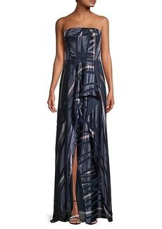 Halston Heritage Striped Strapless Gown