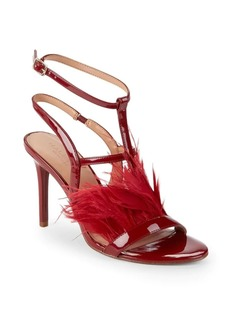 Halston Heritage Tasha Feather & Leather Ankle-Strap Sandals
