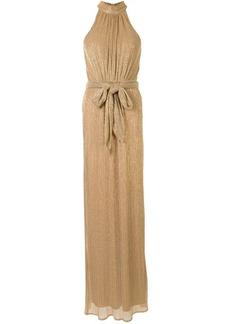 Halston Heritage tie-waist gathered mock-neck gown