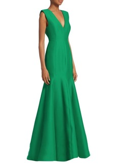 Halston Heritage V-Neck Fitted Structure Mermaid Gown