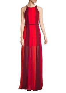 Halston Heritage Vertical Stripe Gown