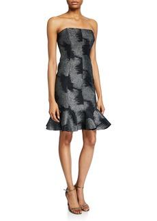Halston Metallic Abstract Jacquard Strapless Dress