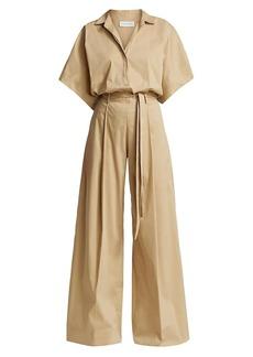 Halston Mina Belted Cotton Jumpsuit