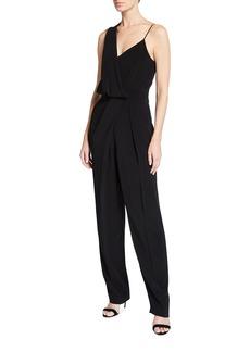 Halston Noire Asymmetric Draped Jersey Jumpsuit