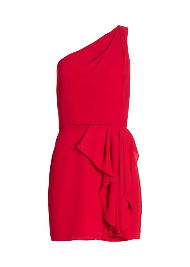 Halston One-Shoulder Drape-Front Mini Dress