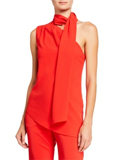 Halston One-Shoulder Scarf Neck Asymmetrical Top