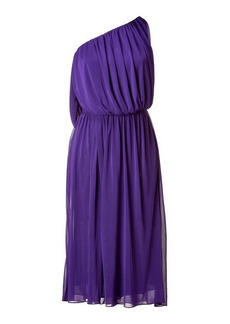 Halston Purple One Shoulder Dress
