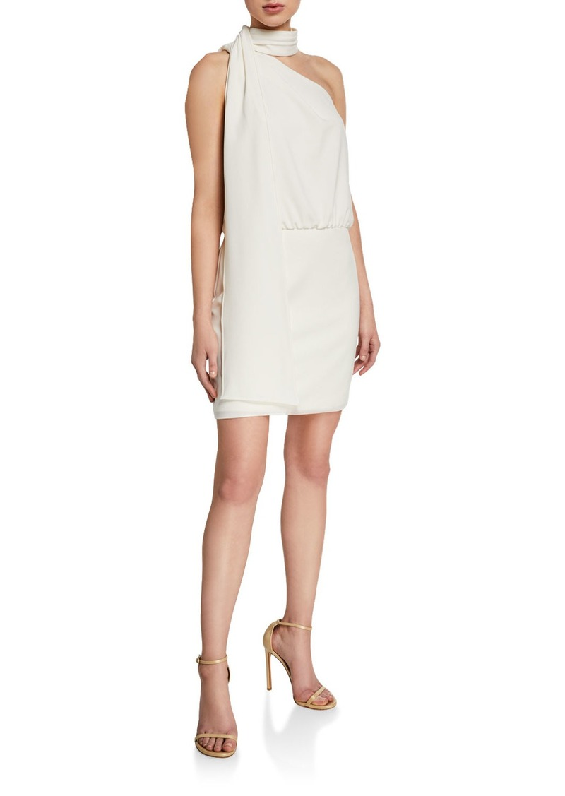 Halston Scarf Neck Sleeveless Cocktail Dress