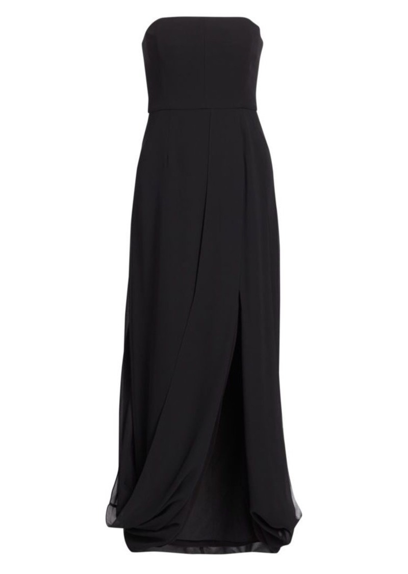 Halston Strapless Draped-Back Gown