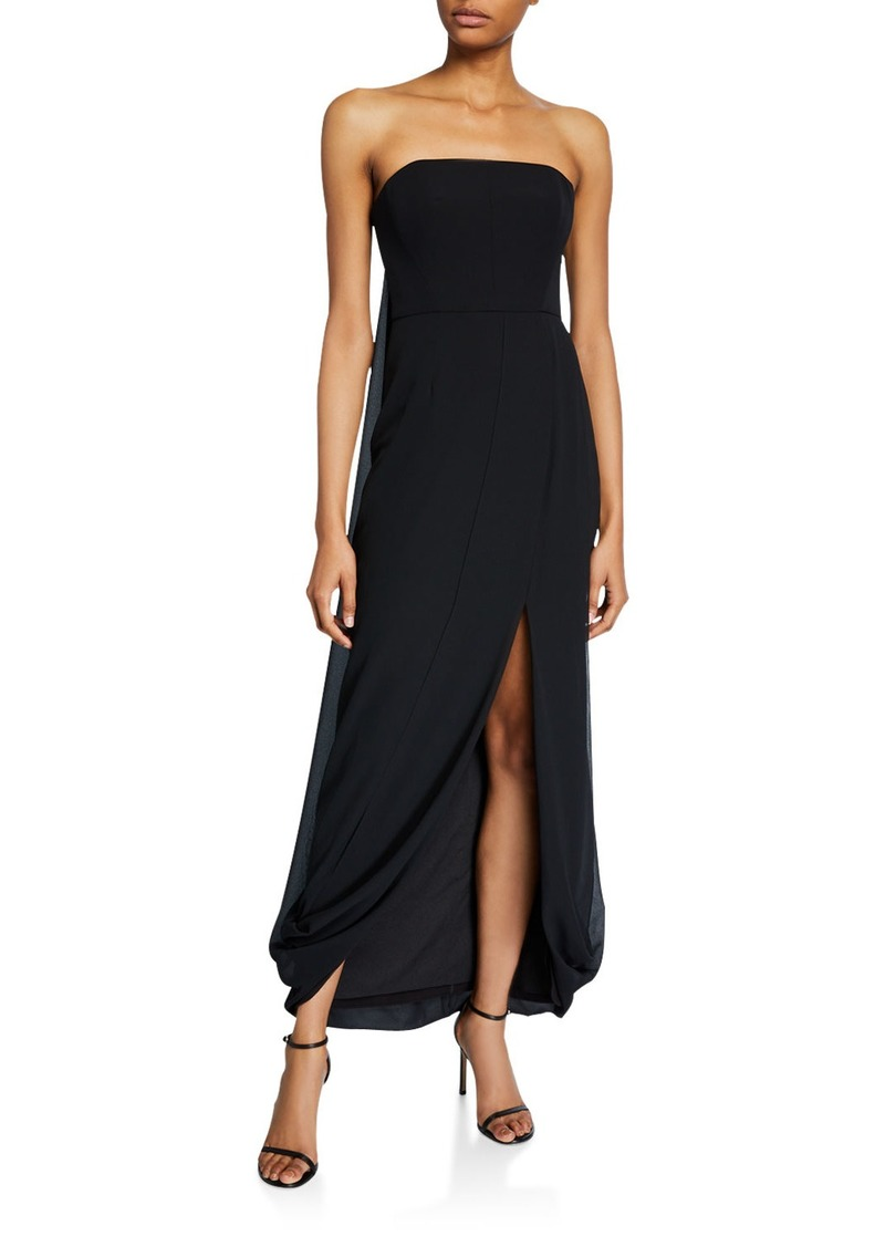 Halston Strapless Draped-Back High-Low Georgette Gown