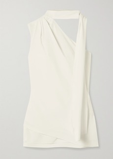 Halston Tie-neck One-shoulder Crepe Top