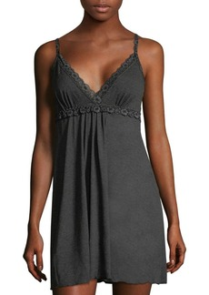 Hanky Panky Floral-Trimmed Heathered Chemise
