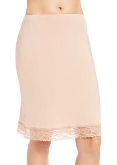 "Hanky Panky Silky Skin 22"" Lace-Trim Back-Slit Fitted Half Slip"