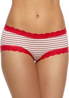 Hanky Panky Striped Jersey Lace-Trim Girlkini Boy Shorts