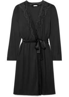 Hanro Ava Lace And Velvet-trimmed Modal And Silk-blend Robe
