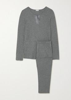 Hanro Fia Melangé Stretch Silk-trimmed Cotton And Modal-blend Pajama Set