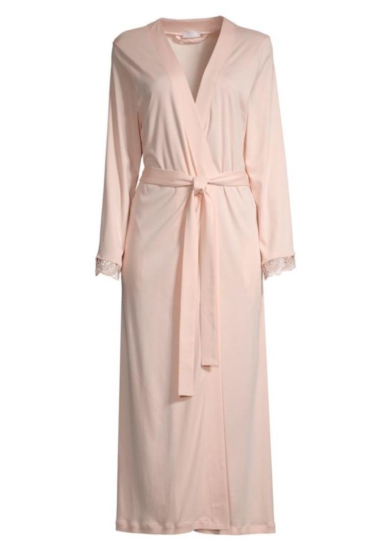 Hanro Flora Lace-Trim Robe