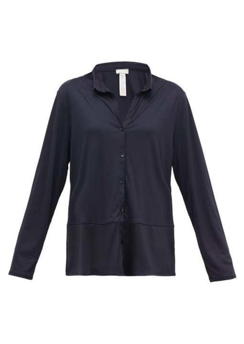 Hanro Grand Central satin-trimmed jersey pyjama top
