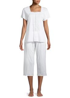 Hanro Hazel Eyelet-Inset Crop Pajama Set