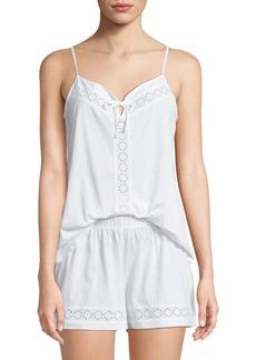 Hanro Hazel Eyelet-Inset Shorty Pajama Set