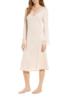 Hanro Imani Lace Trim Long Sleeve Nightgown