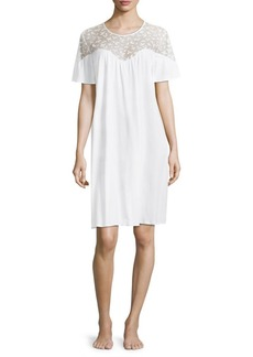 Hanro Iris Short-Sleeve Cotton Nightgown