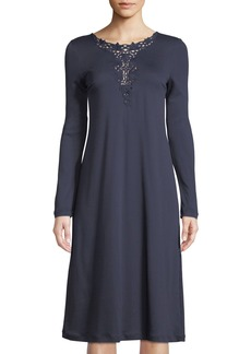 Hanro Jasmin Embroidery-Inset Long-Sleeve Nightgown