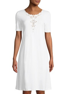 Hanro Jasmin Short-Sleeve Nightgown with 3D Floral Embroidery
