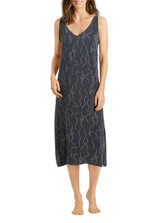 Hanro Lille Printed Long Chemise Nightgown