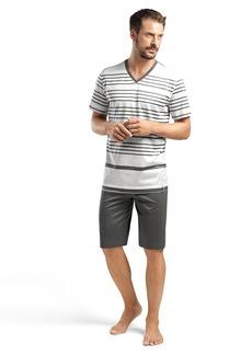 HANRO Men's Oscar Sleeve Short Stripe Pajama Set Anthracite