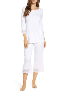 Hanro Moments Lace Trim Crop Pajamas