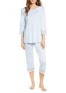 Hanro Moments Lace Trim Crop Pajamas