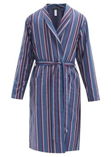 Hanro Striped cotton-blend twill bathrobe