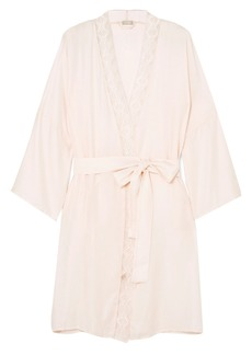 Hanro Woman Liane Lace-trimmed Jacquard Robe Pastel Pink