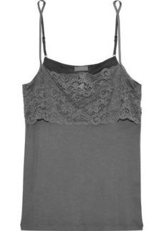 Hanro Woman Luxury Moments Lace-paneled Cotton-jersey Camisole Dark Gray