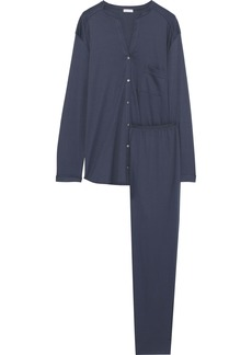 Hanro Woman Pure Essence Cotton-jersey Pajama Set Navy