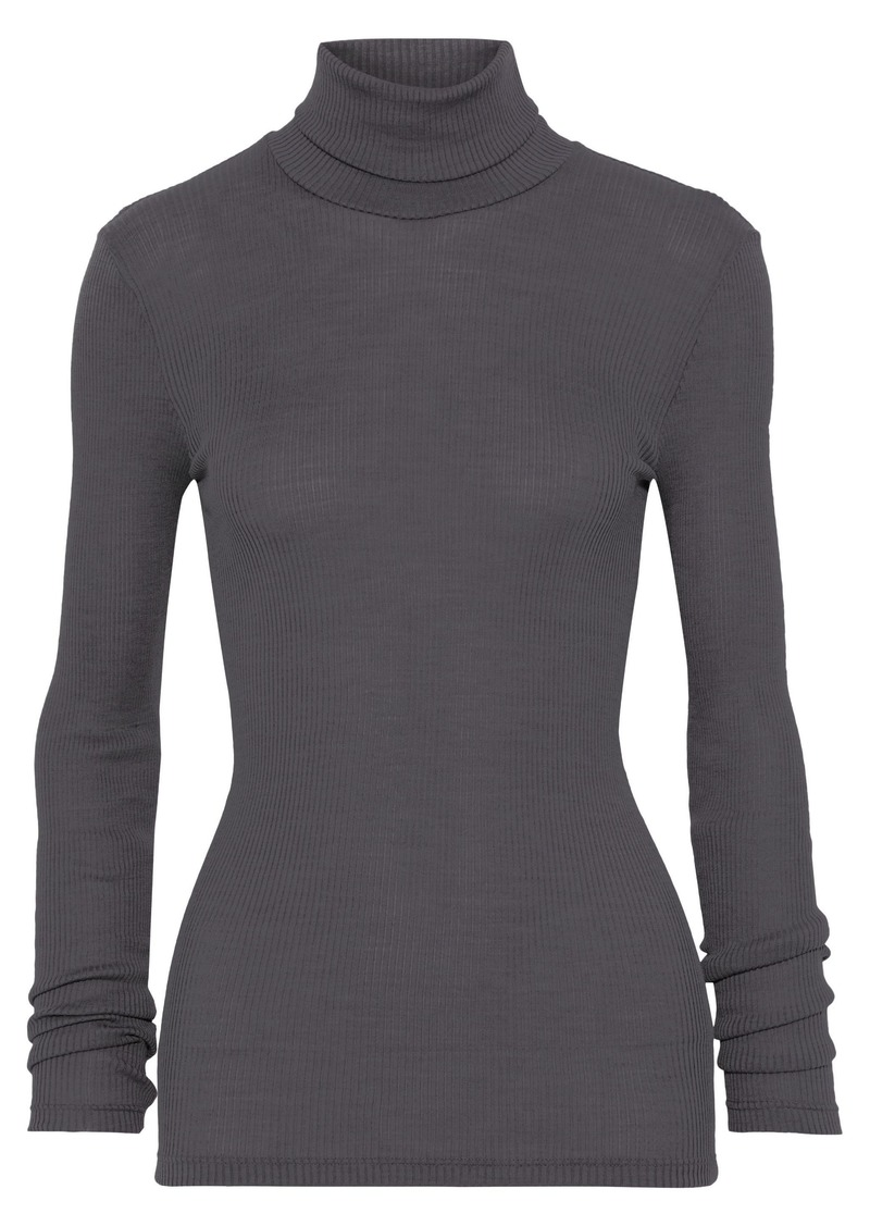 Hanro Woman Seraphina Ribbed Wool And Silk-blend Turtleneck Top Dark Gray