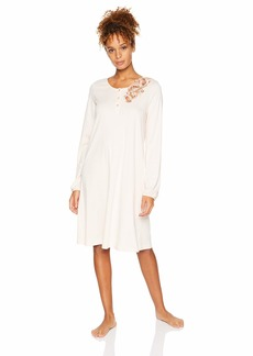HANRO Women's Jana Long Sleeve Henley Gown