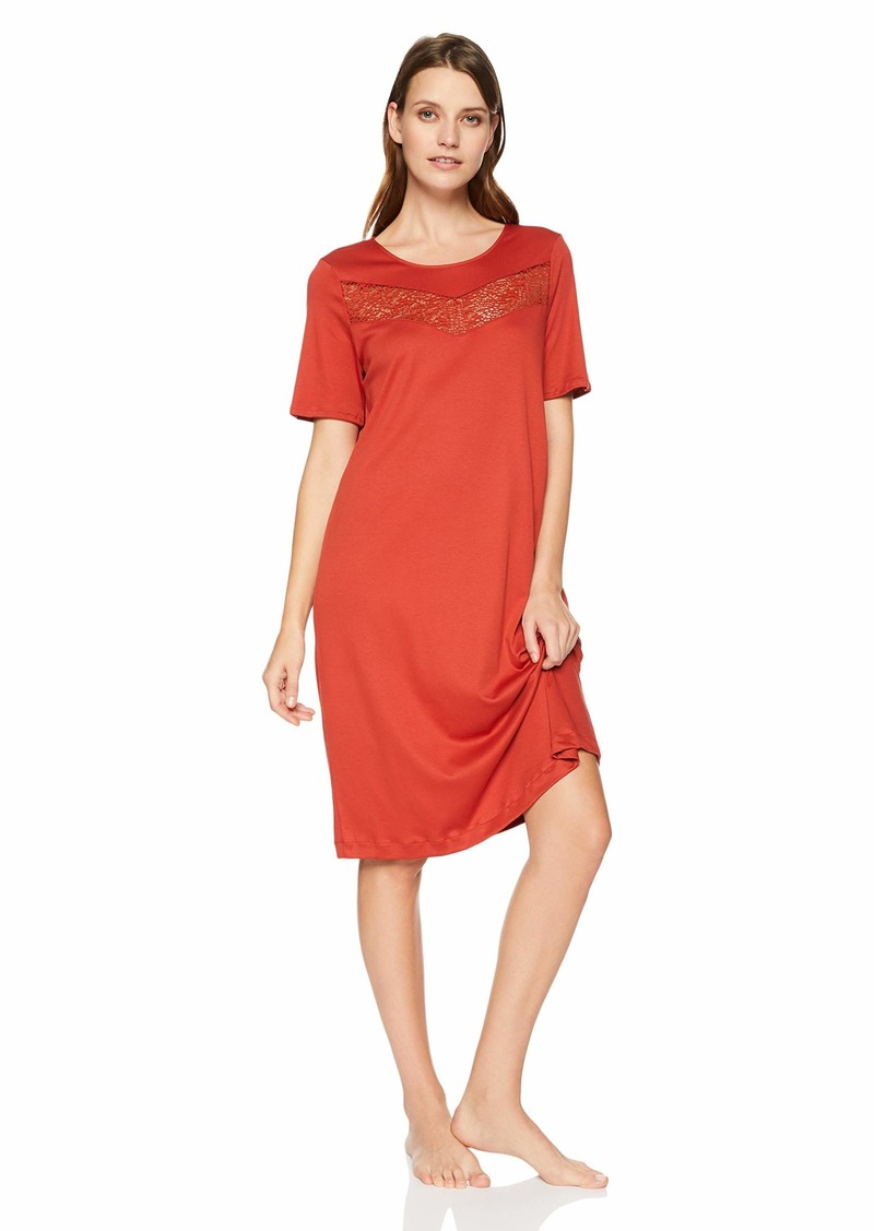 HANRO Women's Liv Short Sleeve Gown Rusted red
