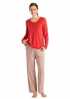 HANRO Women's Sleep and Lounge Long Sleeve Henley Shirt