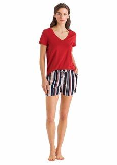 HANRO Women's Sleep and Lounge Short Sleeve V-Neck Shirt Rusted red